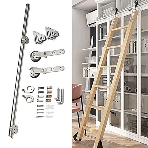Kit de herrajes para puertas corredizas de granero, con riel móvil de tubo redondo acero inoxidable y ruedas de rodillo para escalera, riel biblioteca/loft/hogar/interior/librería (sin escalera)