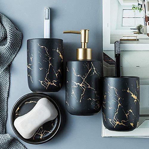 Dongbin Bad Accessoires Set, 4-teiliges Stilvolles Badzubehör mit Marmor Seifenspender, Seifenschale und Zahnputzbecher, Keramikseifenspender, matt,Schwarz