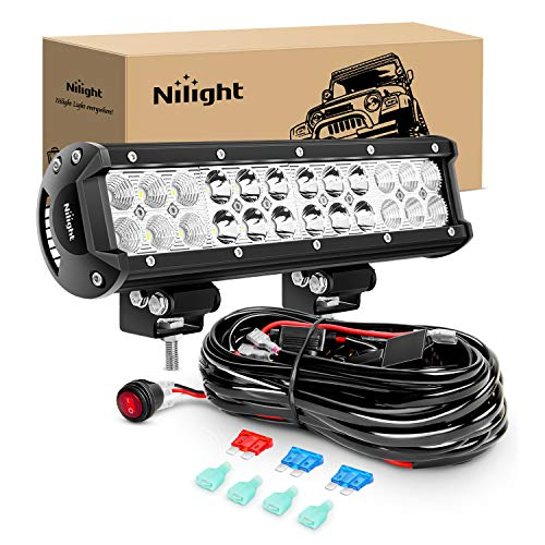 Nilight - ZH007 Led Light Bar 12 Inch 72W Spot Flood Combo With Off Road Wiring Harness, 2 years Warranty