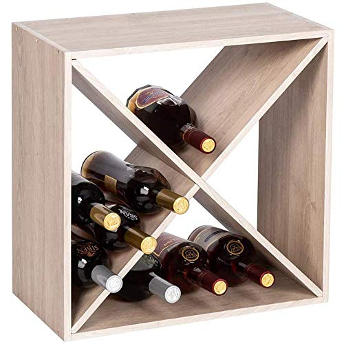 YWYW Estante de Vino de 4 Cubos, para 12-18 Botellas, estantes de Vino apilables de Estilo clásico para Botellas, Bar, Bodega, sótano, gabinete, Natural