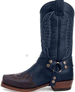 SMACO Les Hommes et Les Femmes Vintage Bottes PU Moto en Cuir Chaussures Casual Broderie Homme Bottes Bout carré Western C...