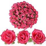 BUONDAC (Dia:3cm) 100pcs Rose Artificielle Capitules Tete Fleur Faux Plante Artificielle Decoration pour Maison Mariage Fête