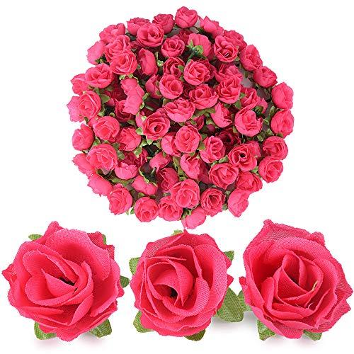 BUONDAC 100pcs Cabezas de Rosa Flores Rosa Artificiales en Seda para Manualidades Decoración de Boda Fiesta Hogar Fucsia