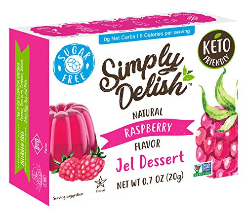 Simply Delish Natural Raspberry Jel Dessert - Sugar Free, Non GMO, Gluten Free, Fat Free, Lactose Free, Keto Friendly - 0.7 OZ (Pack of 6)