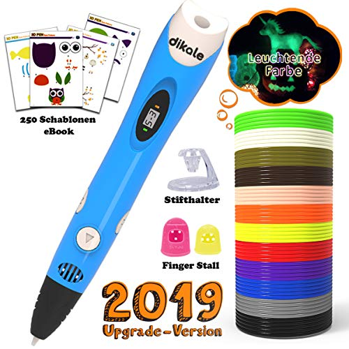 3D Stifte Set für Kinder mit PLA Filament 12 Farben -【Neueste Version 2018】3D Stifte mit PLA Farben 120 Fuß und 250 Schablonen eBook, Dikale 07A 3D Pen als kreatives Geschenk für Erwachsene, Bastler zu kritzeleien, basteln, malen und 3D drücken