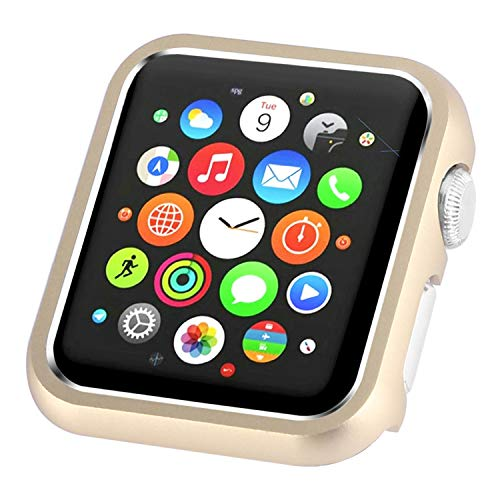 Leotop Compatible with Apple Watch Case 38mm 42mm, Compatible iWatch Bumper Metal Protective Cover Aluminum Frame Bling Shiny Protector Compatible Apple Watch Series 3/2/1(Matte Gold, 38mm)