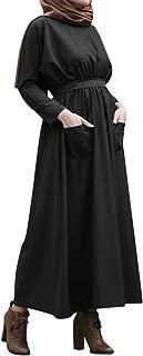 Muslim Women Summer Solid Color Pearls Embellished Flowing Dress