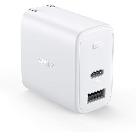 PD 充電器 AUKEY Type C 急速充電器 32W USB-A + USB-C 最小・最軽量クラス 折畳式 /2ポート/ PD3.0対応/折りたたみ式/ iPhone 12 / 12 Pro / 12Pro Max/iPhone 12Mini /iPhone 11/11 Pro/XR/8、GalaxyS10、MacBook、iPad Pro、Nintendo Switchその他USB-C機器対応 ホワイト