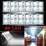 led light bar 40 LEDs led light bar Van Interior Light Kits, LED Ceiling Lights Kit for Van RV Boats Caravans Trailers Lorries Sprinter Ducato Transit (10 Modules, White) (01)