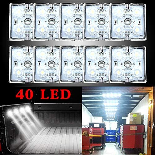 Ruesious Kit di 40 luci a LED per interni di furgoni, camper, barche, roulotte, rimorchi, autocarri, Sprinter Ducato Transit (10 moduli, bianco)…
