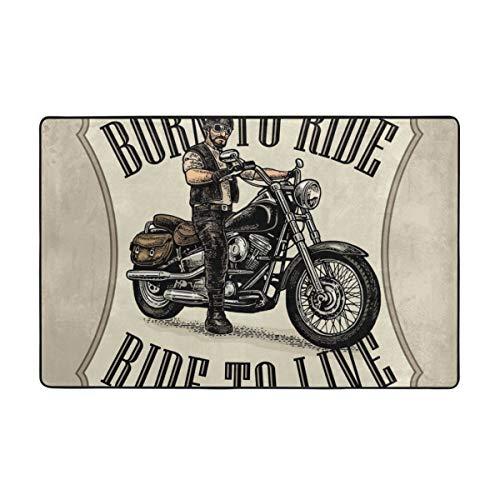 Badematte,Mann im Motorradhelm und in den Brillen, die EIN klassisches Chopper-Fahrrad Fahren,Rutschfester Badezimmerteppich Teppich