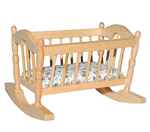 alles-meine.de GmbH Puppen Baby Wiege aus hellem Holz - Maßstab 1:12 - Puppenbett Puppe für die Puppenstube Miniatur Puppenhaus - Puppenbett Holzbett Nostalgie - Puppenwiege