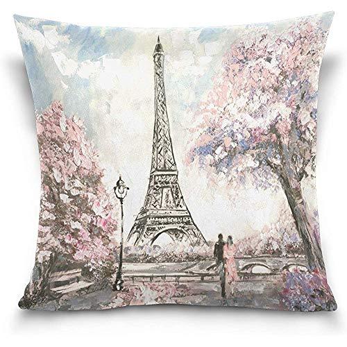 Moily Fayshow Fodera per Cuscino Decorativo per Cuscino, Pittura a Olio Francia Parigi Torre Eiffel Amante Opera d'Arte Fodera per Cuscino 40 X 40 cm
