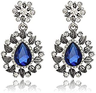 Weddding bridal drop blue crystal rhinestone women bridal Earring Christmas