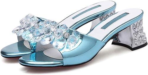 HommesGLTX Talon Aiguille Talons Hauts Sandales Nouveau Chaussures D'été Femme Talon Carré en Cristal Mules élégantes Chaussures Confortables Femmes Pantoufles Cuir Véritable à L'Intérieur