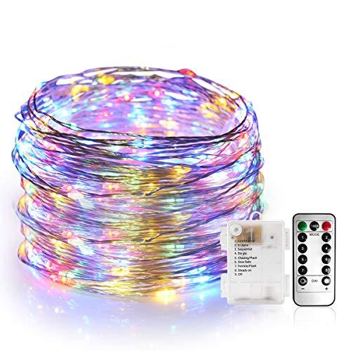 Stringa Luci Led, Catene Luminose 100 LEDS 10M Ghirlanda di Luci Calda, Linea d'argento Iimpermeabile, 8 Modalità di Luci con Telecomando per Illuminazione [Classe di Efficienza Energetica A]