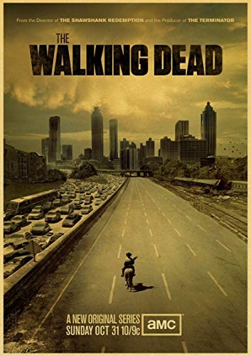 xmydeshoop Serie de TV clásica de Zombies The Walking Dead Estilo Retro Arte Familiar Bar cafetería decoración de Pared póster de Papel 50x70cm No Frame PQ-1618