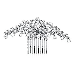 commercial Mariel Shiny Silver and Clear Crystal Petal Wedding, Bridal Shower, Prom Hair Accessories extensions by mariell