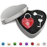 Candado del amor del corazón con grabado libre - (candado con dos llaves (caja del corazón), rojo)