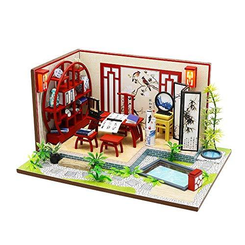 WEHOLY Spielzeug DIY Puppenhaus Kreative chinesische Stil Gebäude 3D-Modell Altes Gebäude, Kleinkind Puppenhaus Sets, Puppenhaus mit Staubschutz, 3D Holz Puzzle Spielset (Farbe: Standard)