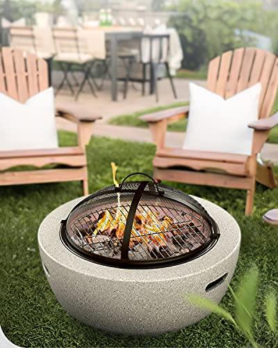 HAIT Bonfire Bowl BBQ Grill Firepit, Mesa de Hoguera Ardiente Limpia con 6 Componentes Principales, el Material de óxido de Magnesio para el Uso de Reubicación es Más Liviano y Ahorra Mano de Obra