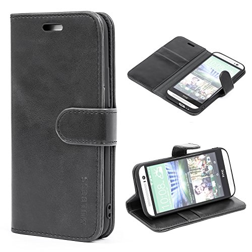Mulbess Handyhülle für HTC One M8 Hülle Leder, HTC One M8 Handy Hüllen, Vintage Flip Handytasche Schutzhülle für HTC One M8 Hülle, Schwarz