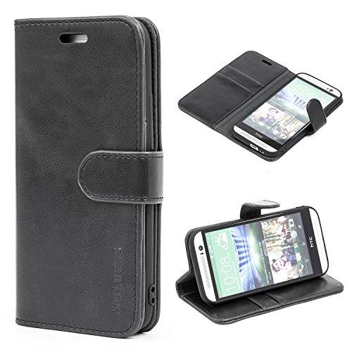Mulbess Flip Tasche Handyhülle für HTC One M8 Hülle Leder, HTC One M8 Klapphülle, HTC One M8 Handy Hülle, Schutzhülle für HTC One M8 Handytasche, Schwarz