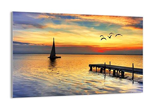 ARTTOR Quadro su Vetro - Elemento Unico - Spiaggia Paesaggio Acqua Ponte - 120x80cm - Pronto da Appendere - Home Decor - Arte Digitale - Quadri Moderni in Vetro - Stampe da Parete - GAA120x80-2535