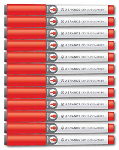 U Brands Low Odor Dry Erase Markers with Erasers, Medium Point, Red, 12-Count