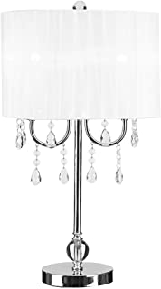 Catalina Lighting 19519-003 Glam Chandelier Table Lamp with Dazzling Crystal Beads & Faux Silk Pleated Shade, 19