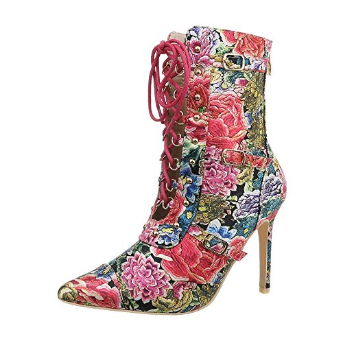 Ital-Design High Heel Stiefeletten Damen-Schuhe Pfennig-/Stilettoabsatz Heels Reißverschluss Pink Multi, Gr 38, Jr-046-