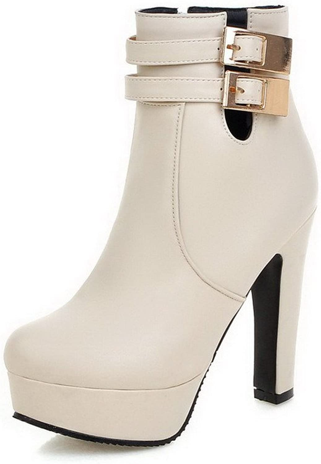 AllhqFashion Women's PU Low-top Solid Chains High-Heels Boots