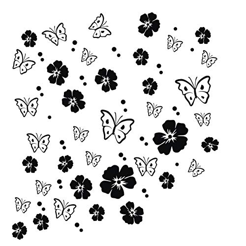 kleb-drauf   19 Blüten, 19 Schmetterlinge und 42 Punkte   Schwarz - matt   Wandtattoo Wandaufkleber Wandsticker Aufkleber Sticker   Wohnzimmer Schlafzimmer Kinderzimmer Küche Bad   Deko Wände Glas Fenster Tür Fliese