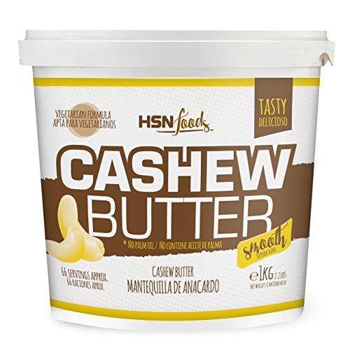 Mantequilla de Anacardo de HSN | Crema con Textura Cremosa y Suave | Cashew Butter Smooth | 100% Natural | Vegano, Sin grasa de palma, Sin grasas trans, Sin azúcar ni sal añadidos | 1 Kg