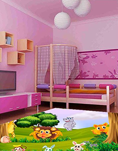 Oedim Alfombra Infantil Animales Selva PVC 95 cm x 200 cm | Esterillo Infantil PVC | Suelo vinilico para niños | Animales Selva |