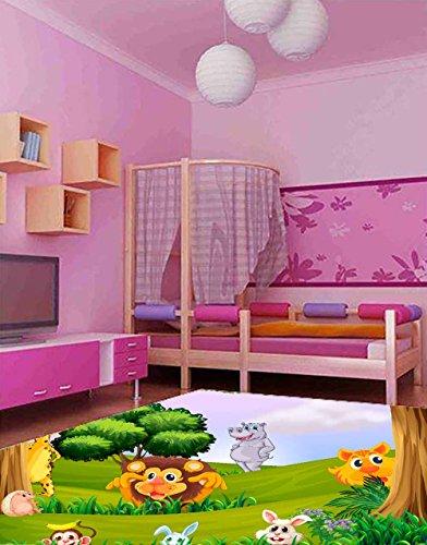 Oedim PVC Jungle tapijt voor kinderen, 95 cm x 200 cm   PVC kindermat   Vinyl vloer voor kinderen   Jungle Animals  