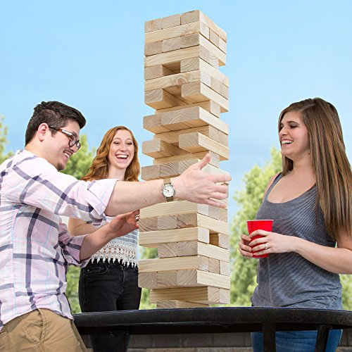 Hey! Play! Classic Giant Wooden Blocks Tower Stacking Game, Outdoors Yard Game, for Adults, Kids, Boys and Girls