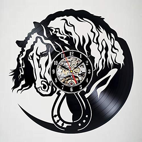Fryymq (12 Pulgadas con LED) Reloj de Pared con Disco de Vinilo para decoración de Caballos, decoración de habitación emocionante, Regalos con Acabado Adecuado para niños, Adultos, Hombre