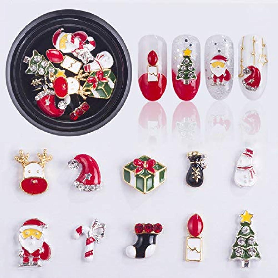 流出縫うポーズ1個ックスクリスマスクリスマスジュエリーミックスツリー雪だるまネイルアート装飾合金金属DIY 3Dネイルラインストーンツール