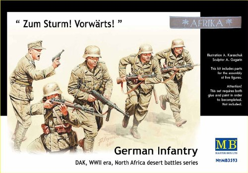 Master Box WWII DAK German Infantry N. Africa (5) Figure Model Building Kits (1:35 Scale)