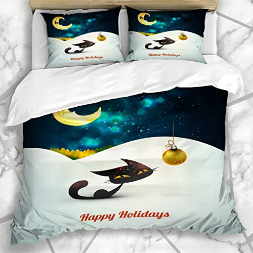 Qoqon Duvet Cover Sets Ball Cat Christmas Globe Alone Snow Under Chirstmas Holidays Cold Eve Greetings Kitten Design Microfiber Bedding with 2 Pillow Shams