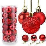 O-Kinee Weihnachtskugeln Rot, 24 Stücke Christbaumkugeln Kunststoff, Kugeln Weihnachtsdeko, Weihnachtsbaumschmuck Set, Weihnachtsbaum Deko & Christbaumschmuck, 4CM