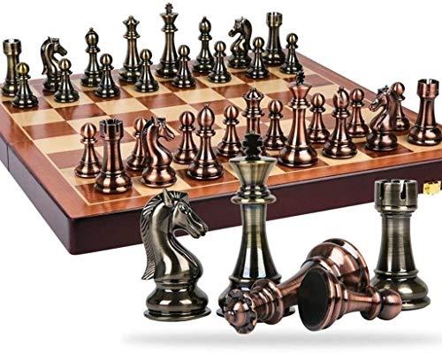 J & J Juego de ajedrez de Viaje Damas de ajedrez de Metal de Bronce y latón Piezas de ajedrez de ajedrez Plegable de...