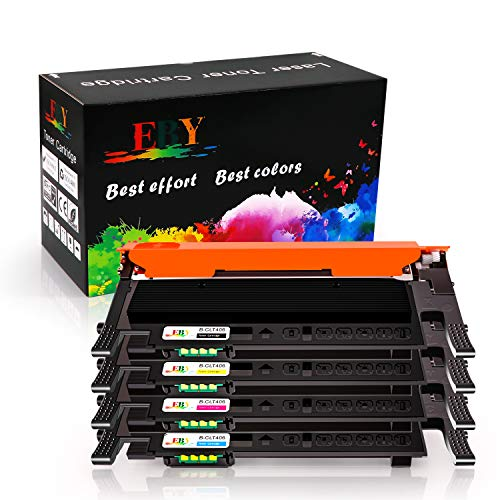 EBY Kompatibel Toner CLT-406S für Samsung Xpress C410W C460FW C460W CLX-3300 CLX-3305 CLX-3305W CLX-3305N CLX-3305FW CLX-3305FN CLP-360 CLP-360N CLP-365 CLP-365W (Schwarz/Cyan/Magenta/Gelb, 4 Pack)