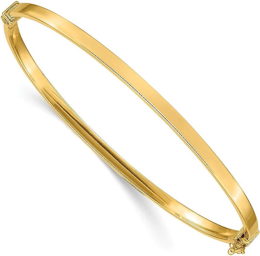 14K Yellow Gold Polished Hinged Bangle Bracelet
