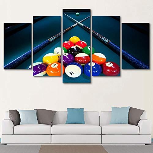 QRTQ Leinwanddrucke 5 Panel 200x100 cm Sportfarben-Billard Wandkunst Leinwand Decor Malerei Kunst Malerei Bild der Wanddekoration für Wohnzimmerkorridorschlafzimmer(Kein Rahmen)