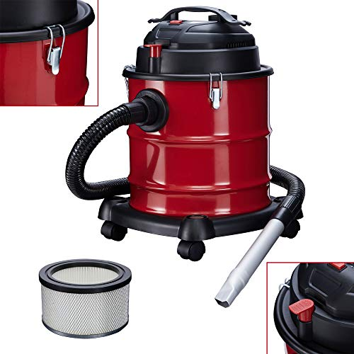 Arebos Aspirador de cenizas prémium, depósito de 20 L, 1200 W, incluye filtro HEPA, manguera flexible de aspiración.