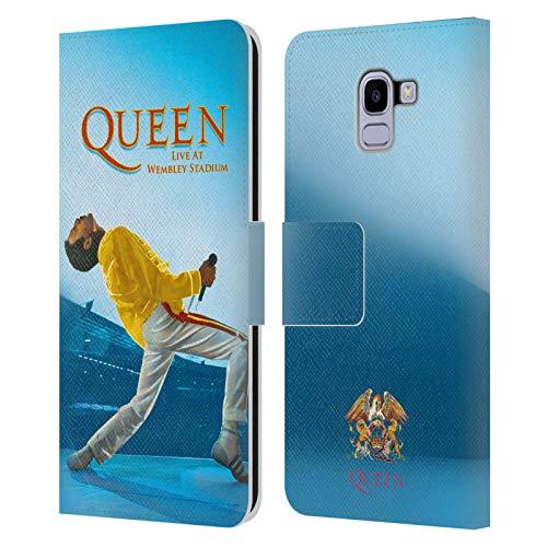 Head Case Designs Licenza Ufficiale Queen Freddie Mercury Live At Wembley Arte Chiave Cover in Pelle a Portafoglio Compatibile con Samsung Galaxy J6 / On6 (2018)