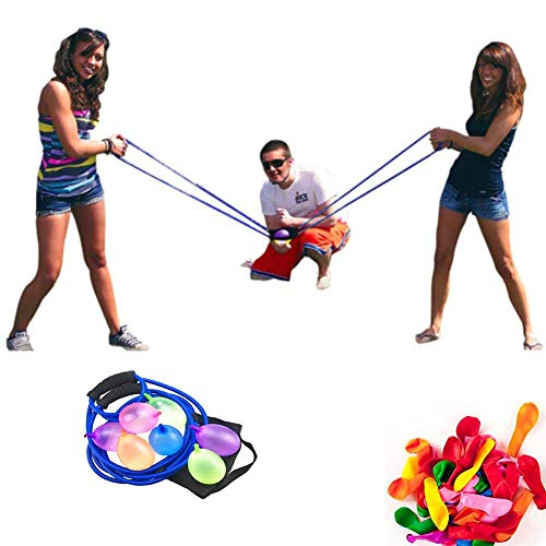 Ecisi Wasserballon-Schleuder, 500 Yard Toys 3-Personen-Schleuder 100 Wasserballons, Beast Heavy Duty Launcher Wasserbomben-Schleuder Trebuchet-Ballon-Kampfkanonenkatapult