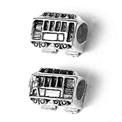 Image: Lone Palm Jewelry | Cable Car Charm Bead - Solid 925 Sterling Silver - Fits Bracelets like Pandora